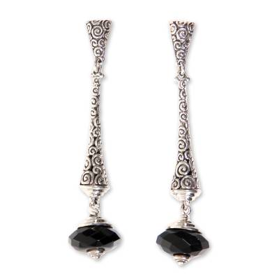 2.5-inch Long Sterling Silver Earrings with Onyx from Bali