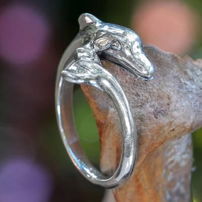 rings yts - Sterling Silver Dolphin Ring with High Polished Finish