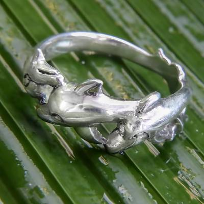 Sterling silver band ring, 'Dolphin Family' - Fair Trade Balinese Jewelry Sterling Silver Band Ring