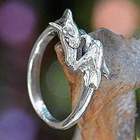 Sterling silver band ring, 'Dolphin Romance' - Sterling Silver Dolphin Band Ring Balinese Artisan Jewelry