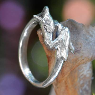 Sterling Silver Dolphin Band Ring Balinese Artisan Jewelry