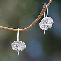 Sterling silver drop earrings, 'Petite Azalea' - Balinese Handcrafted Sterling Floral Drop Earrings