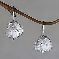 Sterling silver drop earrings, 'Petite Camellia' - Sterling Silver Drop Earrings from Bali