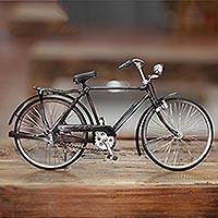Metal statuette, 'Pit Kebo' (large) - Vintage Buffalo Bike Sculpture Handmade Replica (Large)
