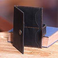 Leather passport wallet, 'Nusantara Expedition in Black' - Handmade Leather Passport Wallet with Multiple Pockets