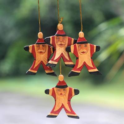 Wood ornaments, 'Happy Red Santa' (set of 4) - Artisan Crafted Santa Claus Christmas Ornaments (Set of 4)