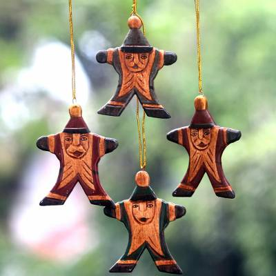 Wood ornaments, Happy Santa (set of 4)