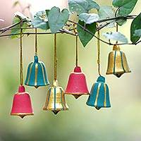 Wood ornaments, 'Balinese Christmas Bells' (set of 6) - Artisan Crafted Wood Bell Ornaments in 3 Colors (Set of 6)