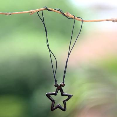 Wood pendant necklace, 'My Star of Hope' - Star Theme Hand Crafted Bali Wood Necklace