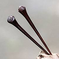 Wood hair pins, 'Storm' (pair) - Bali Artisan Crafted Sono Wood Hair Pins (Pair)
