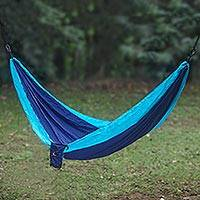 Parachute hammock, 'Sea Dreams' (single) - Fair Trade 100% Nylon Blue with Turquoise Parachute Fabric P