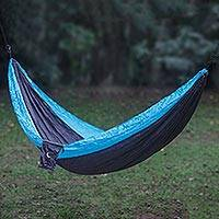 Parachute hammock, 'Highland Dreams' (double) - Grey Turquoise Portable Parachute Fabric Hammock (Double)