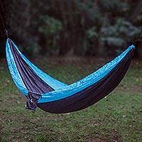 Parachute hammock, 'Highland Dreams' (single) - Grey Turquoise Portable Parachute Fabric Hammock (Single)