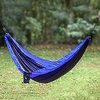 Parachute hammock, 'Pacific Dreams' (double) - Portable Parachute Fabric Hammock Dark Light Blue (Double)