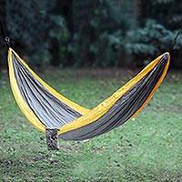 Parachute hammock, 'Morning Dreams' (double) - Grey Yellow Portable Parachute Fabric Hammock (Double)