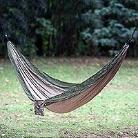 Parachute hammock, 'Jungle Dreams' (double) - Portable Parachute Fabric Hammock Khaki Army Green (Double)
