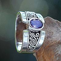 Amethyst single stone ring, 'Purple Karma' - Artisan Crafted Sterling Silver Ring with Amethyst
