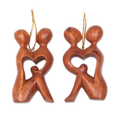 2 Heart Shaped Romantic Ornaments Hand Carved Wood Sculpture