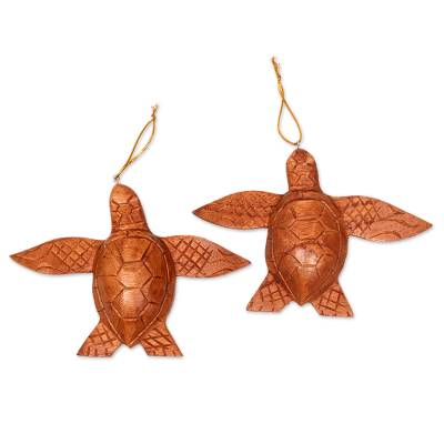 Wood ornaments, 'Patient Turtle' (pair) - 2 Turtle Wood Ornaments Artisan Crafted in Indonesia
