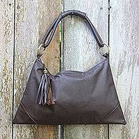 Leather shoulder bag, 'Sophistication in Brown'