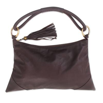 Leather shoulder bag, 'Sophistication in Brown' - Artisan Crafted Brown Leather Shoulder Bag from Bali