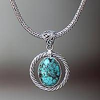 Turquoise pendant necklace, 'Blue Serendipity' - Sterling Silver Hand Crafted Necklace with Turquoise Gem