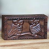 Wood box, 'Two Brown Owls' - Artisan Carved Bird Theme Balinese Sono Wood Box