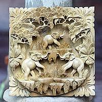 Wood relief panel, 'Jungle Living' - Hand Carved Three Dimensional Elephant Wood Wall Panel