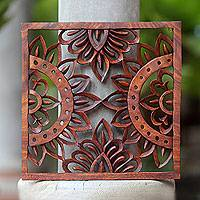 Wood relief panel, 'Sunshine' - Fair Trade Carved Wood Sun Theme Wall Relief Panel from Bali