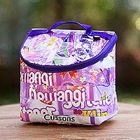 Recycled wrapper insulated bag, 'Purple Hope' - Insulated Bag Hand Made with Recycled Plastic Wrappers