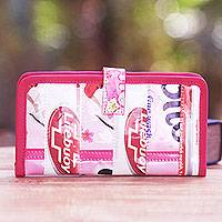 Recycled wrapper passport wallet, 'Pink Voyage' - Handmade Recycled Wrappers Pink Passport Wallet