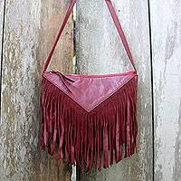 Leather shoulder bag, 'Red Warrior' - Fringed Red Leather Shoulder Bag Handmade in Bali