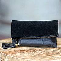 Leather and suede clutch, 'Empress in Black' - Black Leather and Suede Foldover Clutch Handbag