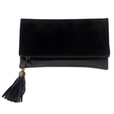 Black Leather and Suede Foldover Clutch Handbag