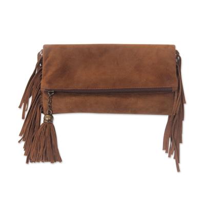 Stylish Fringed Brown Suede Clutch Handbag for Women