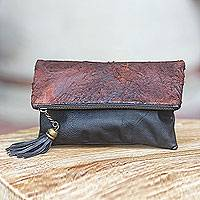 Distressed leather clutch, 'Rustic Makassar' - Distressed Brown and Black Leather Clutch Handbag from Bali