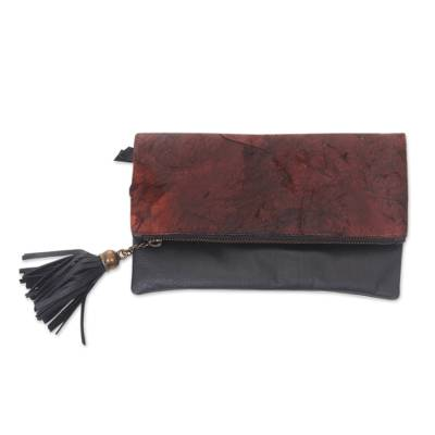 Distressed Brown and Black Leather Clutch Handbag from Bali