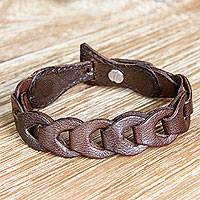 Leather link bracelet, 'Infinity in Brown' - Artisan Crafted Brown Leather Link Style Bracelet
