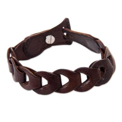 Artisan Crafted Brown Leather Link Style Bracelet
