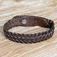 Leather wristband bracelet, 'Brown Chain' - Braided Brown Leather Bracelet Made by Hand in Bali
