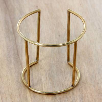 Brass cuff bracelet, 'Epic' - Artisan Crafted Brass Jewelry Wide Cuff Bracelet