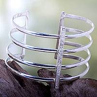 Silver plated cuff bracelet, 'Tribal Urban' - Bold Cuff Bracelet Crafted by Hand with Silver Plated Brass