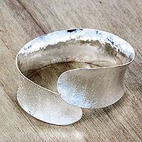 Silver plated bangle bracelet, 'Essence of Movement' - Bangle Bracelet Crafted by Hand with Silver Plated Brass