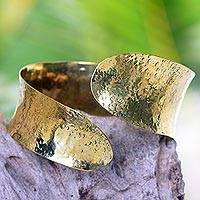 Brass bangle bracelet, 'Essence of Movement' - Modern Brass Bangle Bracelet Crafted by Hand in Bali