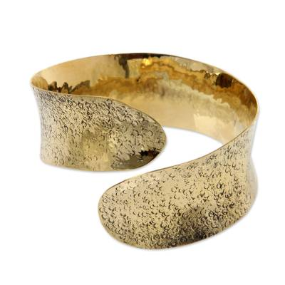 Modern Brass Bangle Bracelet Crafted by Hand in Bali