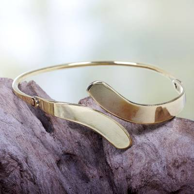 Brass bangle bracelet, 'Sensational' - Balinese Brass Bangle Bracelet Crafted by Hand