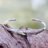 Silver plated cuff bracelet, 'Be Kind' - Silver Plated Brass Cuff Bracelet with Inspirational Message