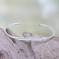 Silver plated cuff bracelet, 'Wanderlust' - Silver Plated Brass Cuff Bracelet with Engraved Message