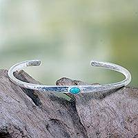 Silver plated cuff bracelet, 'Rustic Diva' - Silver Plated Brass Cuff Bracelet with Turquoise Color Stone
