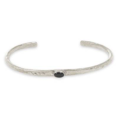 Black Agate on Silver Plated Cuff Bracelet from Bali